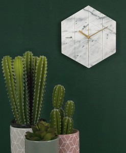 Karlsson marble hexagon wall clock mood